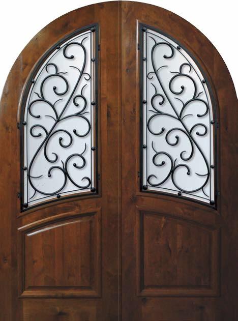 Prehung House Double Door 96 Alder Bellagio Round Top Wrought Iron Mediterr