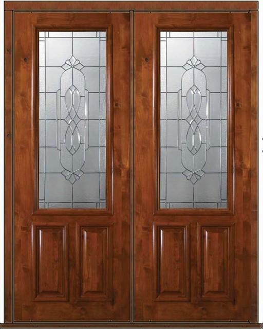 Prehung Entry Double Door 96 Alder Kensington 2 Panel 2 3 Lite Glass Mediterranean Front