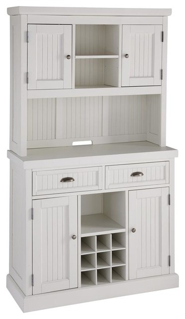 Distressed White Buffet and Hutch - Traditional - China Cabinets And ...