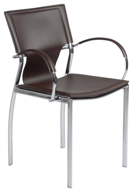 Eurostyle vinnie arm chair in brown leather chrome set for Modern brown leather dining chairs
