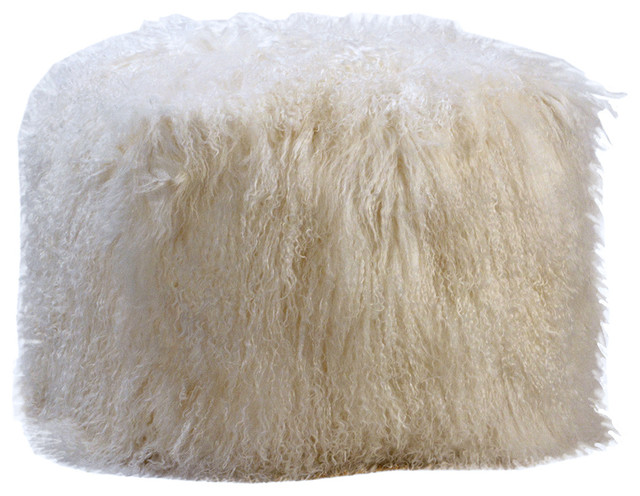 White Angora Fur Ottoman Eclectic Floor Pillows And