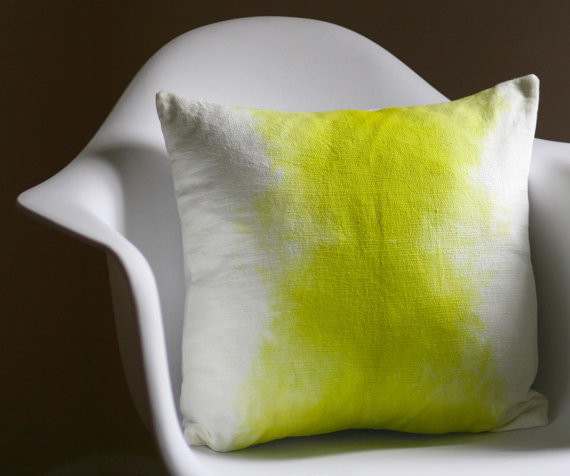 Chartreuse Watercolor Pillow Cover by HettleContemporary