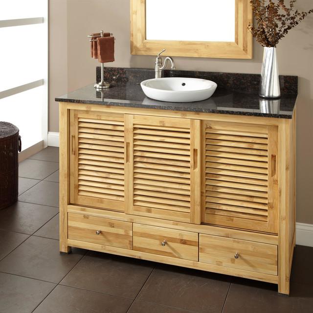 48 arrey bamboo vanity for semi recessed sink modern for Modern bamboo bathroom vanity