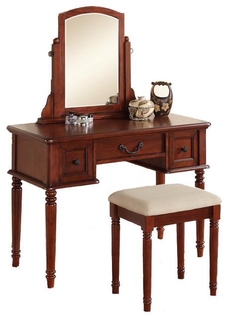 3 PC Makeup Vanity Set Large Drawer Swivel Mirror Bench Cherry Tradition