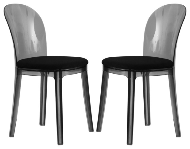 Easton transparent black plastic dining chair set of 2 for Contemporary plastic dining chairs