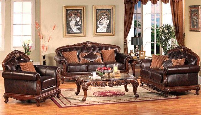 Traditional living room furniture traditional sofas for Traditional living room ideas with leather sofas