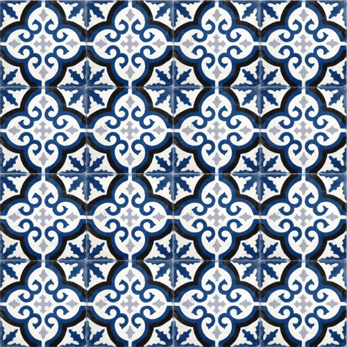 Navy Blue Medallion Cement Tile Traditional Wall And