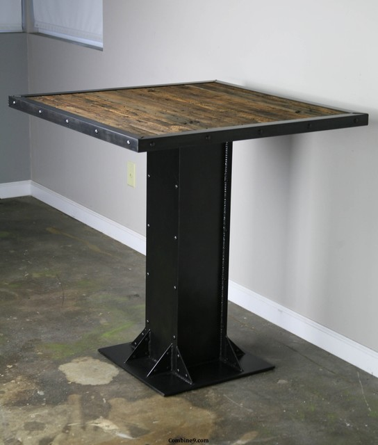 Table Bois Metal Design: Bistro Or Dining Table, Modern Industrial, Mid Century, I