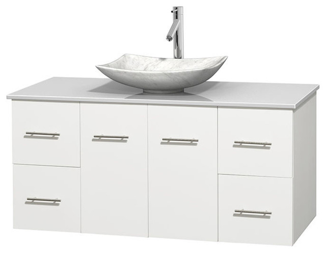 48 Single Bathroom Vanity In White White Man Made Stone Countertop Sink Contemporary