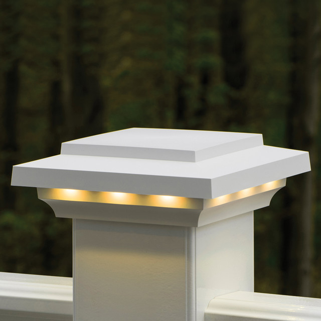 Azek Rail Lighted Island Post Cap Contemporary Deck