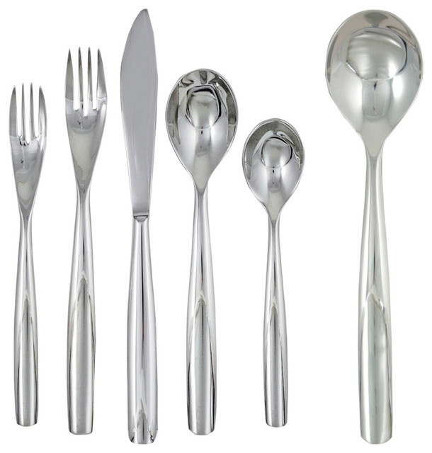 Ginkgo charlie 42 piece stainless steel flatware set contemporary flatware and silverware - Contemporary stainless flatware ...