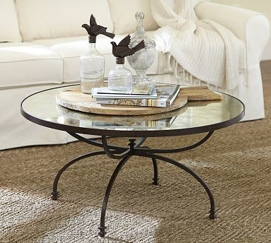 Willow Antique Mirror & Metal Coffee Table, Aged Bronze finish ...