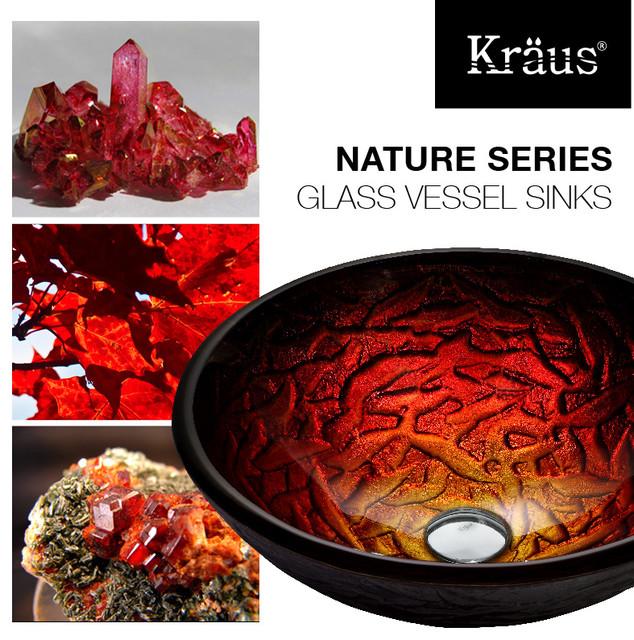 kraus nix glass vessel sink gv 393 19mm nature series modern bathroom sinks new york. Black Bedroom Furniture Sets. Home Design Ideas