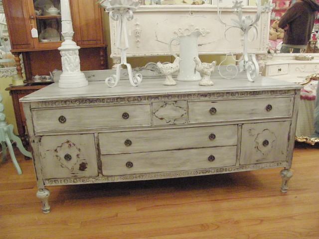 antique buffet flat screen tv media unit french gray distressed - Eclectic - Buffets And ...