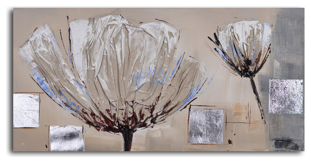 Paper embossed poppy Hand Painted Canvas Art - Contemporary ...