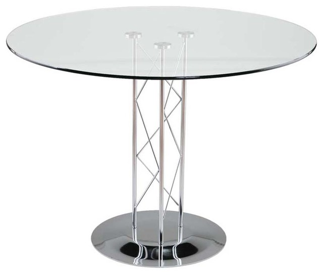 eurostyle trave 42 inch round glass dining table w chrome base contemporary dining tables. Black Bedroom Furniture Sets. Home Design Ideas