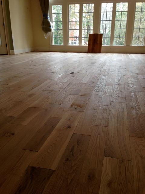 Custom hand beveled rustic white oak flooring rustic for Hardwood floors raleigh