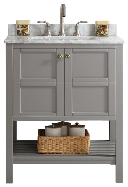 Florence Single Vanity Gray Without Mirror Transitional Bathroom Vanities And Sink