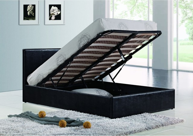 Bonsoni Simple Style Small Double Berlin Ottoman Bed Frame Black 4ft Contemporary Divan Beds