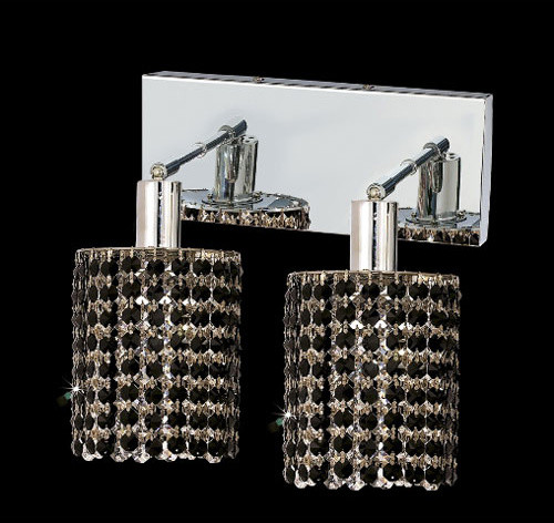 Black Crystal Vanity Lights : Mini Round Chrome Two-Light Bath Fixture with Royal Cut Jet Black Crystal and Ob - Contemporary ...
