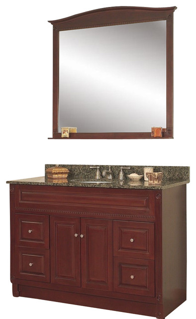 Jsi Concord Bathroom Vanity Set Cherry 48 Cabinet Base 4 Drawers 36 Mirror Traditional
