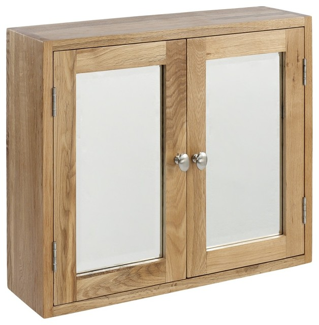 Solid Lansdown Oak Double Bathroom Cabinet With 2 Doors Bevelled Glass Cont