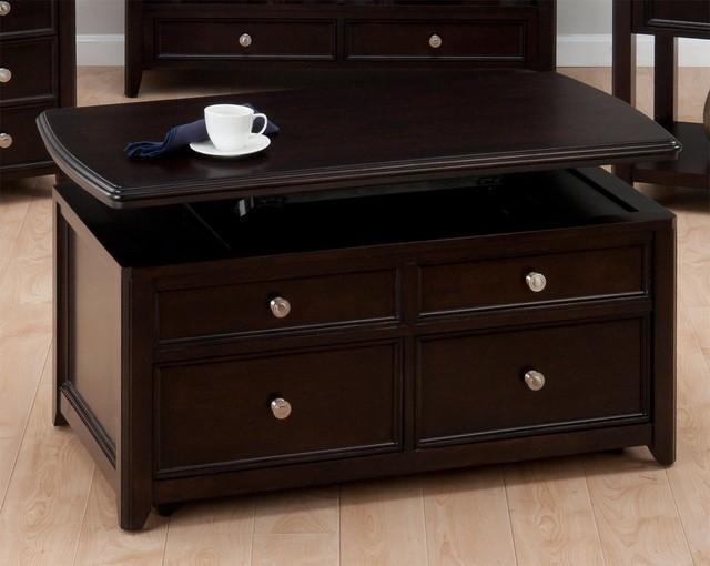 Jofran Corranado Espresso 44x24 Rectangular Cocktail Table W Lift Top 2 Pull T Coffee Tables