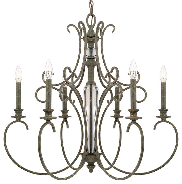 Capital Lighting Everleigh Collection Six Light Chandelier French Greige Transitional