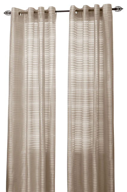 """... Grommet Curtain Panel, 95"""", Beige, Single Panel traditional-curtains"""