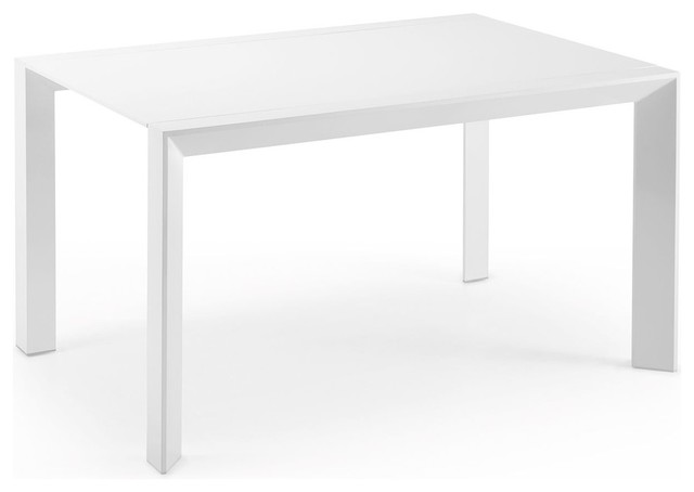 Table extensible laque blanche newport dimensions 140x140 - Table console extensible blanche ...
