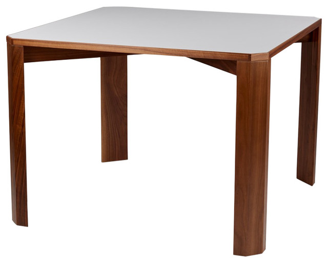 Corral pier table square walnut frame and laminate top modern dining tables by design public - Laminate kitchen tables ...