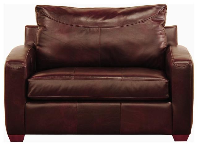 Boulder Leather Chair Sleeper Sofa In Chesterfield Merlot
