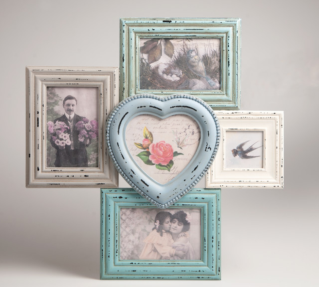 Shabby Chic Multi Picture Frame Pastel Colours Distressed