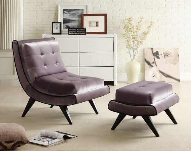 Grey Fabric Armless Swayback Lounge Chair Contemporary