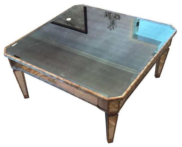 Gilded Square Mirrored Coffee Table Modern Coffee Tables By Chairish