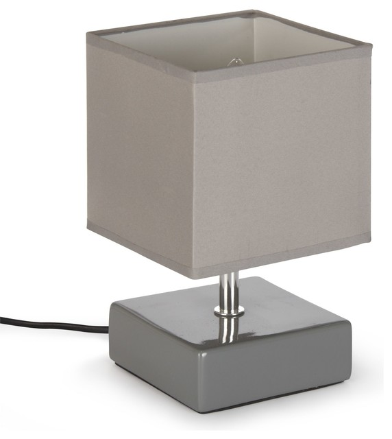 kare lampe avec abat jour ciment h22cm contemporary table - Abat Jour Color