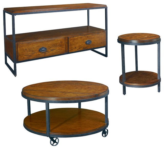 Traditional Coffee Table Sets Lift Top Cocktail Table: Hammary Baja 3-Piece Round Cocktail Table Set