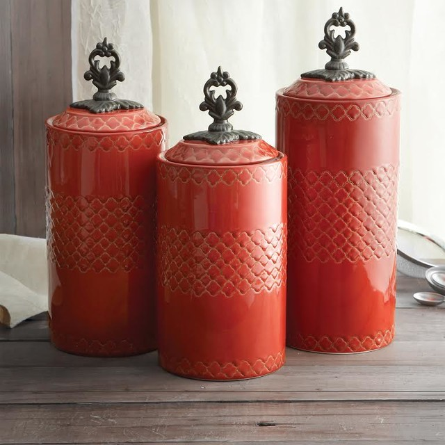 American Atelier Quatra Red Canister Set Rustic