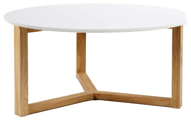 Osaka table basse ch ne massif et blanc scandinave for Table basse scandinave alinea
