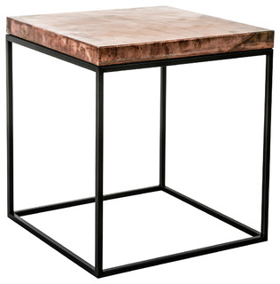 aged copper topped cube craftsman side tables and end tables. Black Bedroom Furniture Sets. Home Design Ideas