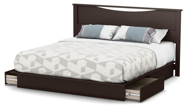 Greatime California King Chocolate Bonded Leather Platform Bed