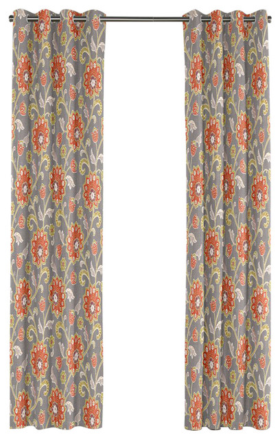 Modern coral and gray floral grommet curtain contemporary curtains by loom decor