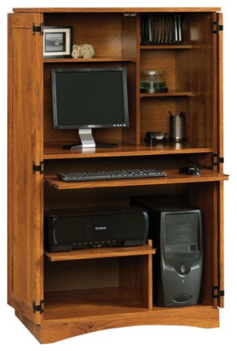 Sauder harvest mill computer armoire abbey oak asian desks and hutches by harvey haley - Sauder harvest mill home theater ...