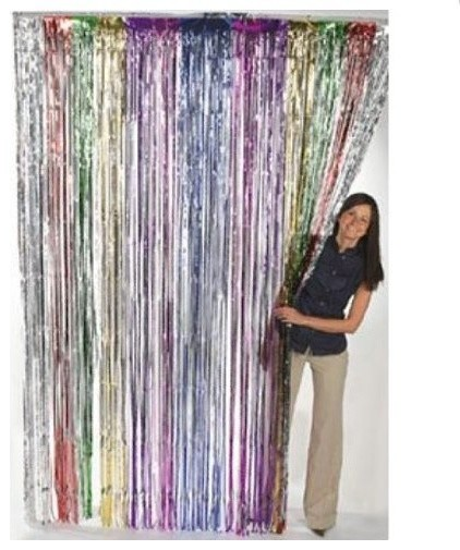 Metallic Rainbow Foil Fringe Curtains 1 Pc Modern