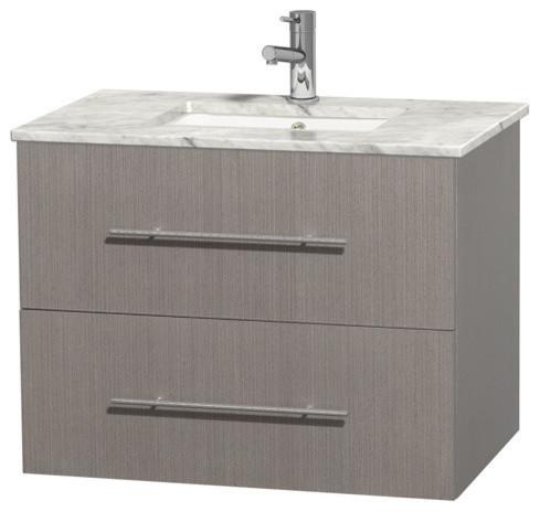 30 Single Bathroom Vanity For Undermount Sink In Gray Oak Marble Countertop Contemporary
