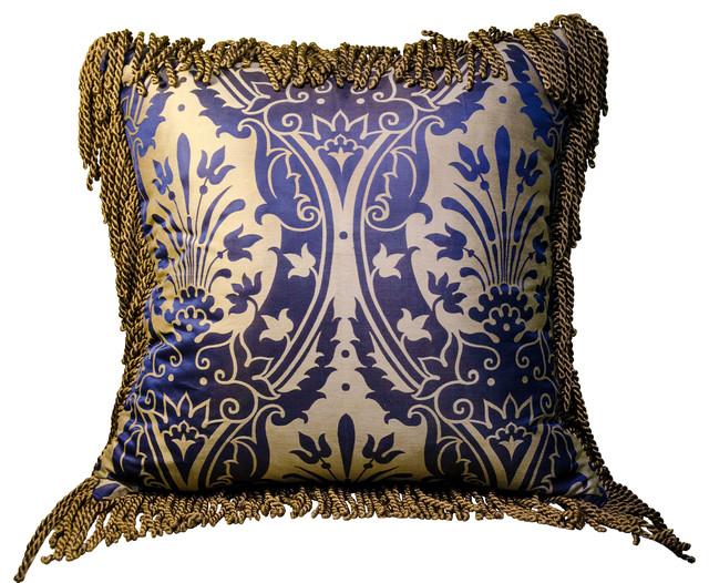 Decorative Victorian Pillows : Caravan Pillow #106: Large Blue Silk Damask and Velvet - Victorian - Decorative Pillows