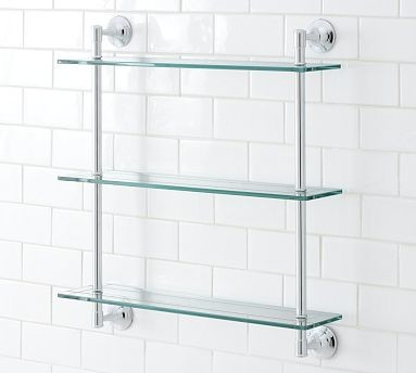 Mercer Triple Glass Shelf Chrome Finish Traditional Display And Wall Shelves By Pottery Barn
