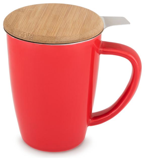 Bailey Ceramic Tea Mug Infuser By Pinky Up Red Contemporary Tea Se