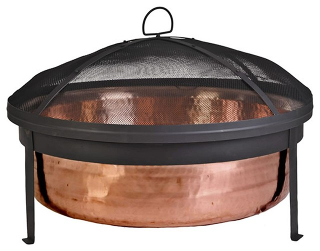 Cobraco Sh101 Hand Hammered Copper Fire Pit With Screen