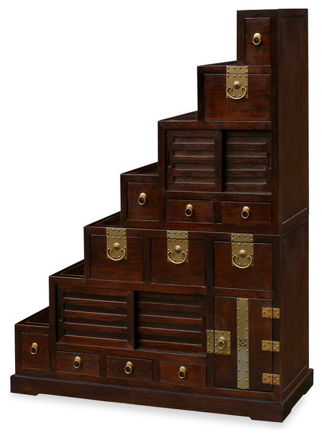 Japanese Style Elmwood Step Tansu - Asian - Storage And Organization - by China Furniture and Arts